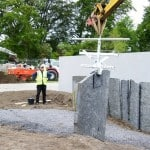 Our flagstone being lifted into place at the Bloom Garden Show 2011. See our news section for more info.