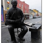 Statue of uilleann piper Willie Clancy after whom the internationally renowned annual Summer School in Miltown Malbay, Co Clare was named constructed using our Liscannor Flagstone. See news section for more information.
