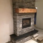 Shown here our building stone and flagstone stove hearth